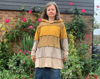 Upcycled Womans Patchwork Sweater Dress Tunic Hoodie Mixed Wool, Cotton Size 10-16 UK, Long Sleeved Oversized Clothes Medium Weight