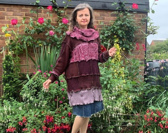 Upcycled Womans Patchwork Sweater Dress Chunky Wool Blend Size 10-16 UK, Long Sleeved Oversized Tunic Dress, Recycled Clothes Medium Weight