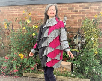 Upcycled Womans Patchwork Chunky Sweater Dress Non Wool Size 10-16 UK, Long Sleeve Oversized Tunic, Recycled Clothes Medium Heavy Weight Top