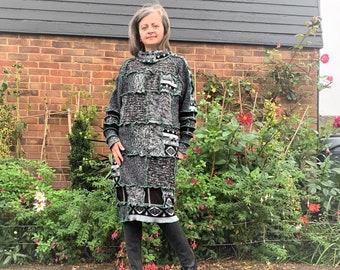 Upcycled Chunky Knit Sweater Pencil Dress, Patchwork Style Tunic Dress Size 10-16 UK Medium Large, Mixed Fabrics Medium Weight knit Non-Wool
