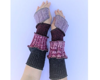 Non wool Hand Warmers Arm Warmers Upcycled Recycled Gloves Mitts Warm and Cosy, Chunky knit One Size Knitwear Christmas Present for Her
