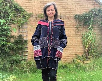 Upcycled Chunky Womens Coat Cardigan, Upcycled Boho Patchwork Coat Sweater Size 10-16 UK Medium XL, Relaxed Loose Pockets And Hood