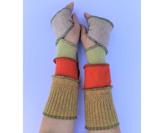 Wool Cashmere Hand Warmers Arm Warmers Upcycled Recycled Gloves Mitts Warm and Cosy, One Size Knitwear Joyful Christmas Present for Her