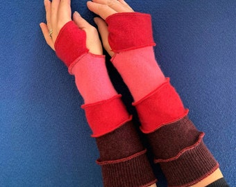 Wool Cashmere Hand Warmers Arm Warmers Upcycled Recycled Gloves Mitts Warm and Cosy, One Size Knitwear Joyful Christmas Present