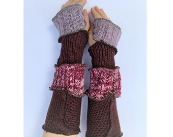 Hand Warmers Arm Warmers Upcycled Recycled Non Wool Gloves Mitts Warm and Cosy, Chunky knit One Size Knitwear Joyful Christmas Present