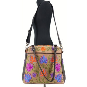 Unique handmade wool leather bag with chain stitch technique