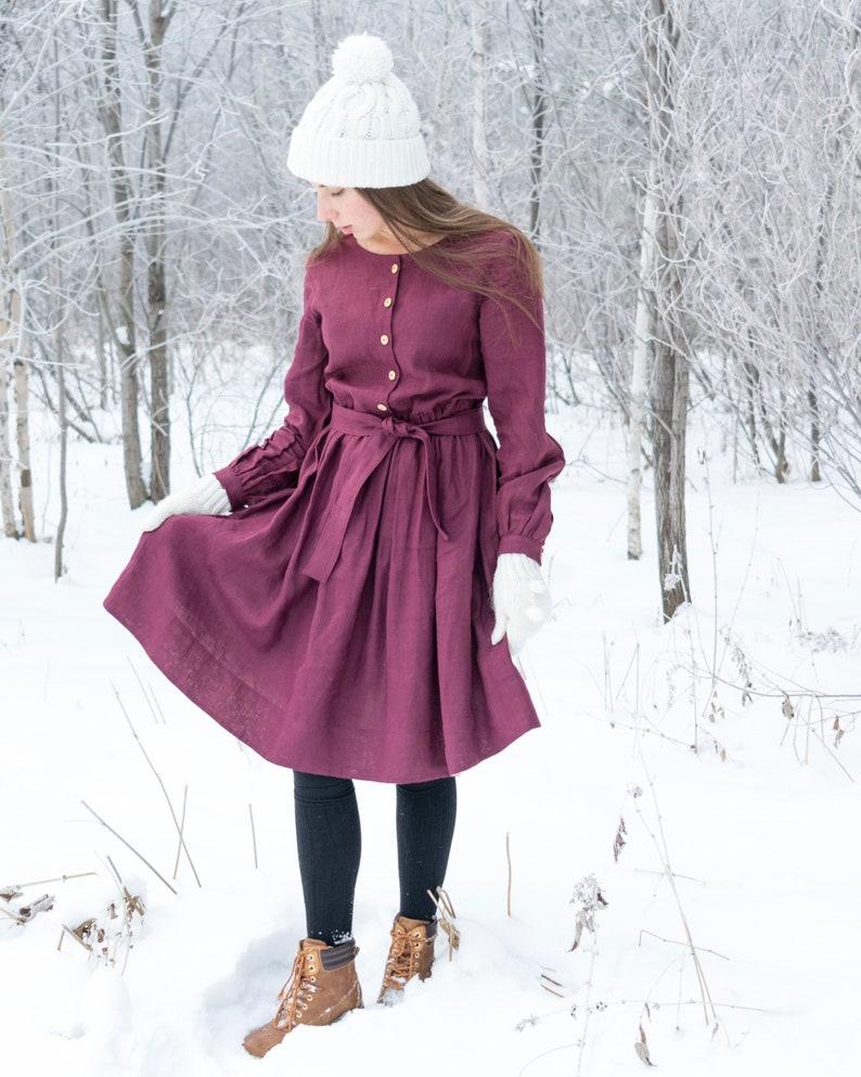 Long Sleeve Dress Burgundy Dress Linen Dress Linen Dress For Woman Linen Midi Dress Handmade Dress Vintage Dress
