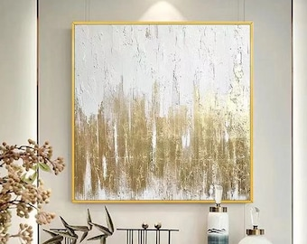 Small White Abstract Painting White And Gold Wall Art 10x10