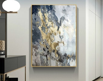 Modern abstract grey black mountain painting gold color scenery landscape original acrylic painting on canvas large wall art home decoration