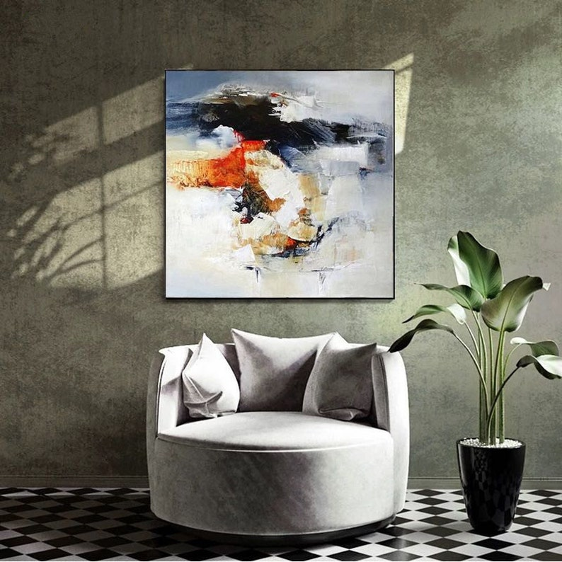 Abstract acrylic painting navy blue cnavas painting yellow ewd acrylic painting color mixture modern abstract painting extra large wall art