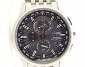 Mens Citizen Eco Drive H804 World Time Radio Controlled steel wrist watch 32526