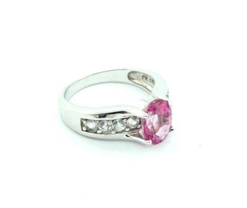 Women/'s Unique Engagement Ring CZ Pink Sapphire Sterling Silver #20755
