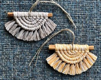 Boho Chic Semicircle Diffuser Wall Hanging 100/% Recycled Cotton Bohemian Color Block Half Circle Small Macrame Half Moon Art