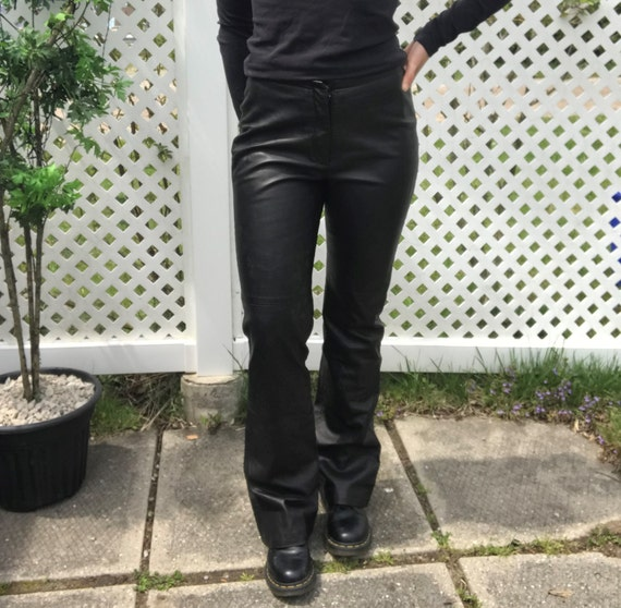 Vintage Danier Black Leather Bell Bottoms