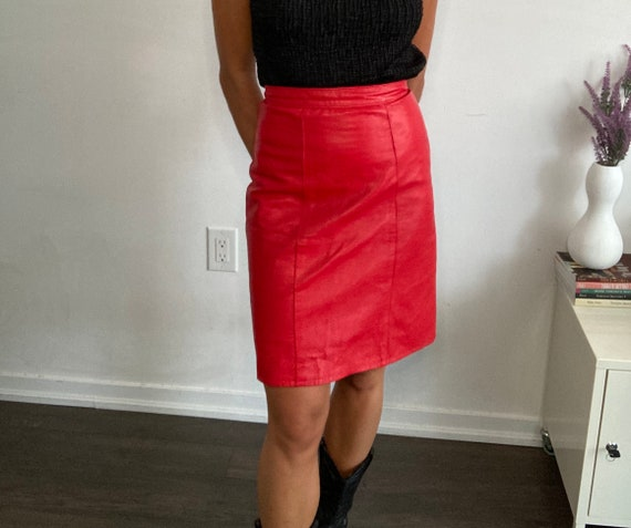 Vintage red leather pencil skirt