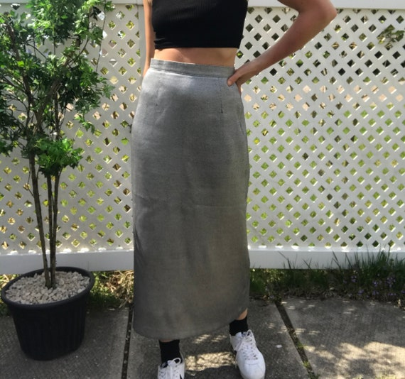 Vintage Silver Maxi/Midi Skirt