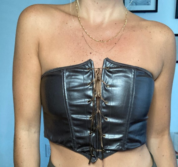 Pleather brown lace-up corset