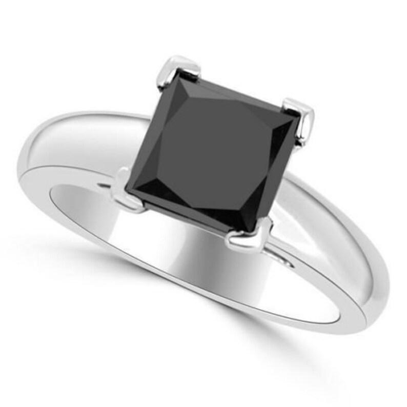 4.20 Carat Princess Cut Black Diamond Solitaire Engagement Ring