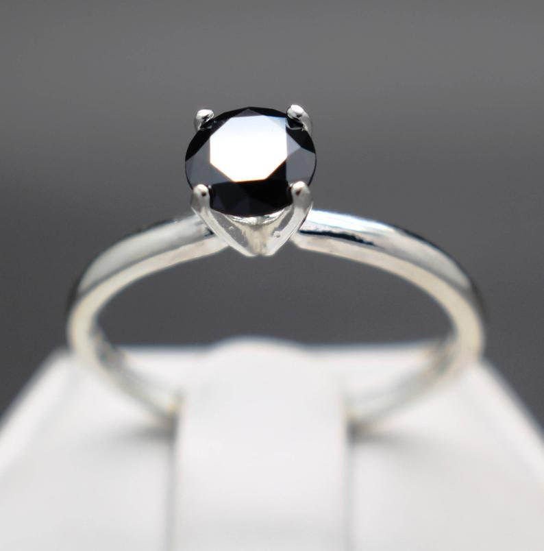 Certified 1.85 cts Natural Black Diamond Solitaire Engagement Ring AAA Grade
