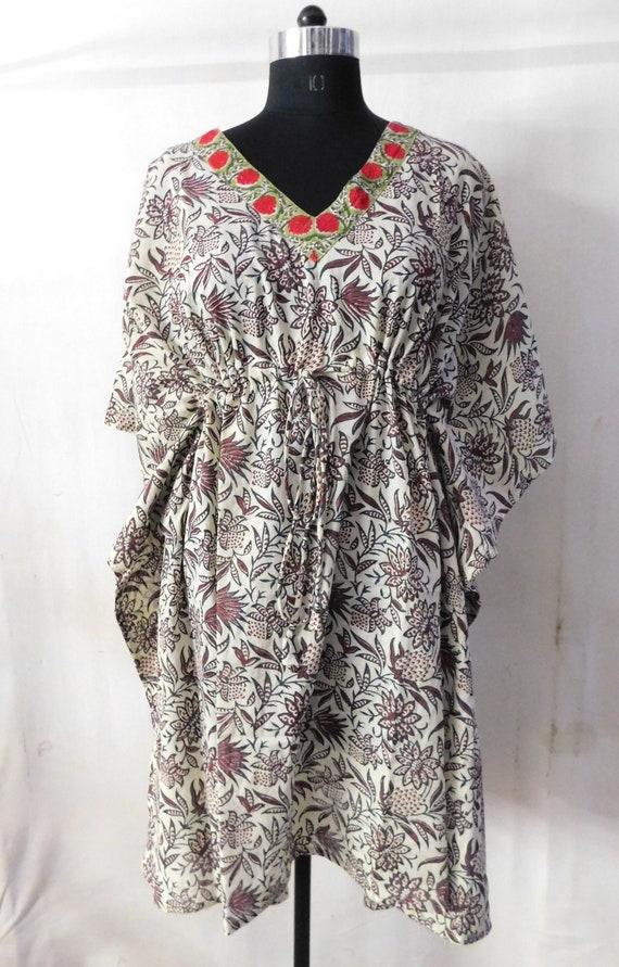 Beach wear kaftan hand block printed maxi dress intimate sleepwear nightgown indian handmade cotton long poncho short abaya dress
