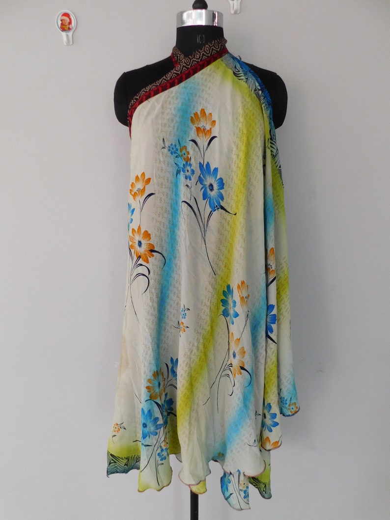 vintage silk long skirt 2 layer magic wrap reversible long skirt bohemian hippie baggy gypsy belly dance waist long rapron skirt 46