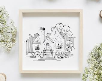 Custom house line drawing, house portrait , home decor gift