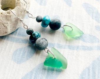 Keuka Lake Glass Jewelry / Finger Lakes Jewelry / Green Glass / Keuka Lake Earrings / Keuka Lake Silver Jewelry / Keuka Lake New York