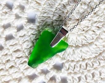 Keuka Lake Glass Jewelry / Bright Green Glass / Finger Lakes Jewelry / Keuka Lake Necklace / Keuka Lake Silver Jewelry / Keuka Lake New York