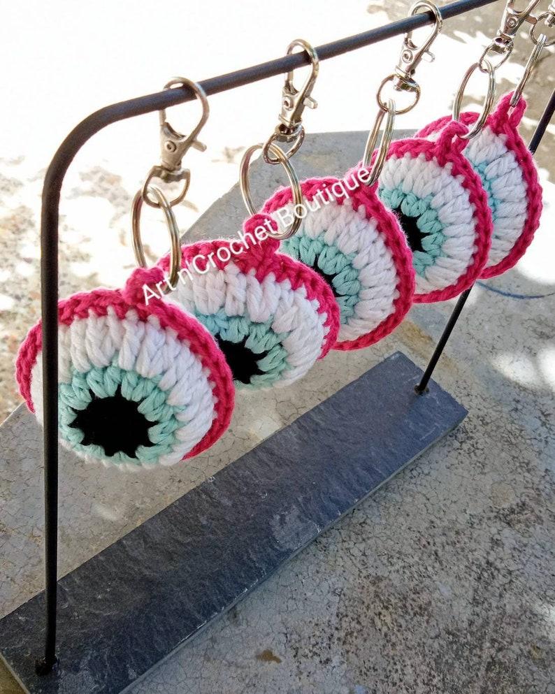 Crochet evil eye keyring