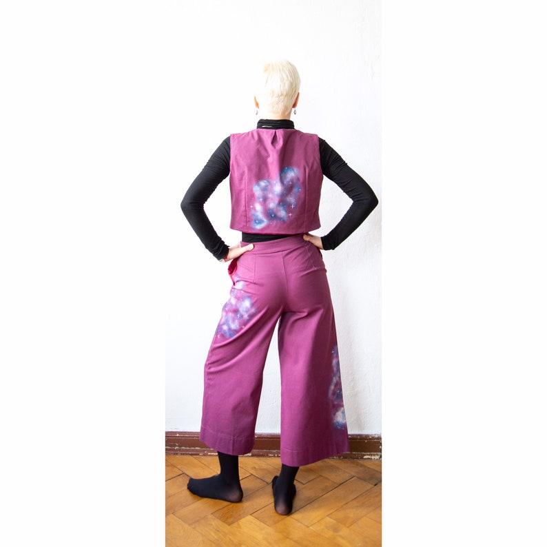 Purple trouser suit art on fashion hand painted with galaxies art fashion painted galaxies pants and vest pants and vest Purple galaxies set