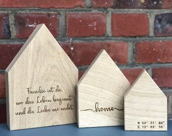 Wooden house with engraving of the homeland Coordinates of noble oak wood, Ideal decoration as a gift to move in