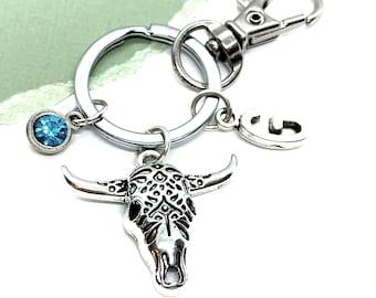 Texas Keychain Keyring Star Longhorn Cow Metal /& Enamel