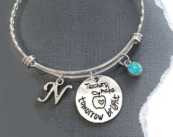 Teacher Gift Bracelet Best Teacher Gift School Charm Bracelet, Teacher Charm Bracelet Homeschool Gift Teacher Jewelry