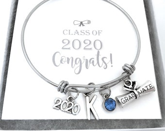 Ldurian Graduation Bracelets 2020,Inspirational New Grad Jewelry Gift Ideas Graduation Bangle Cuff for her,him with Graduation Gift Box and Card