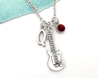 Teens Pink Electric Guitar Necklace with Imagine and Create Charms Women Guitarist Gift Guitar Player Gift Guitarist Birthday Gift