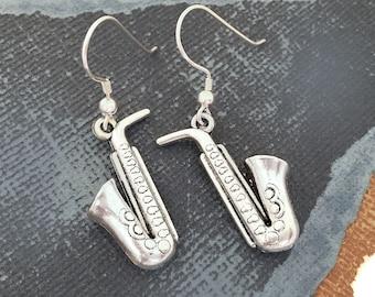 Jazz earrings musician earrings Saxophone earrings