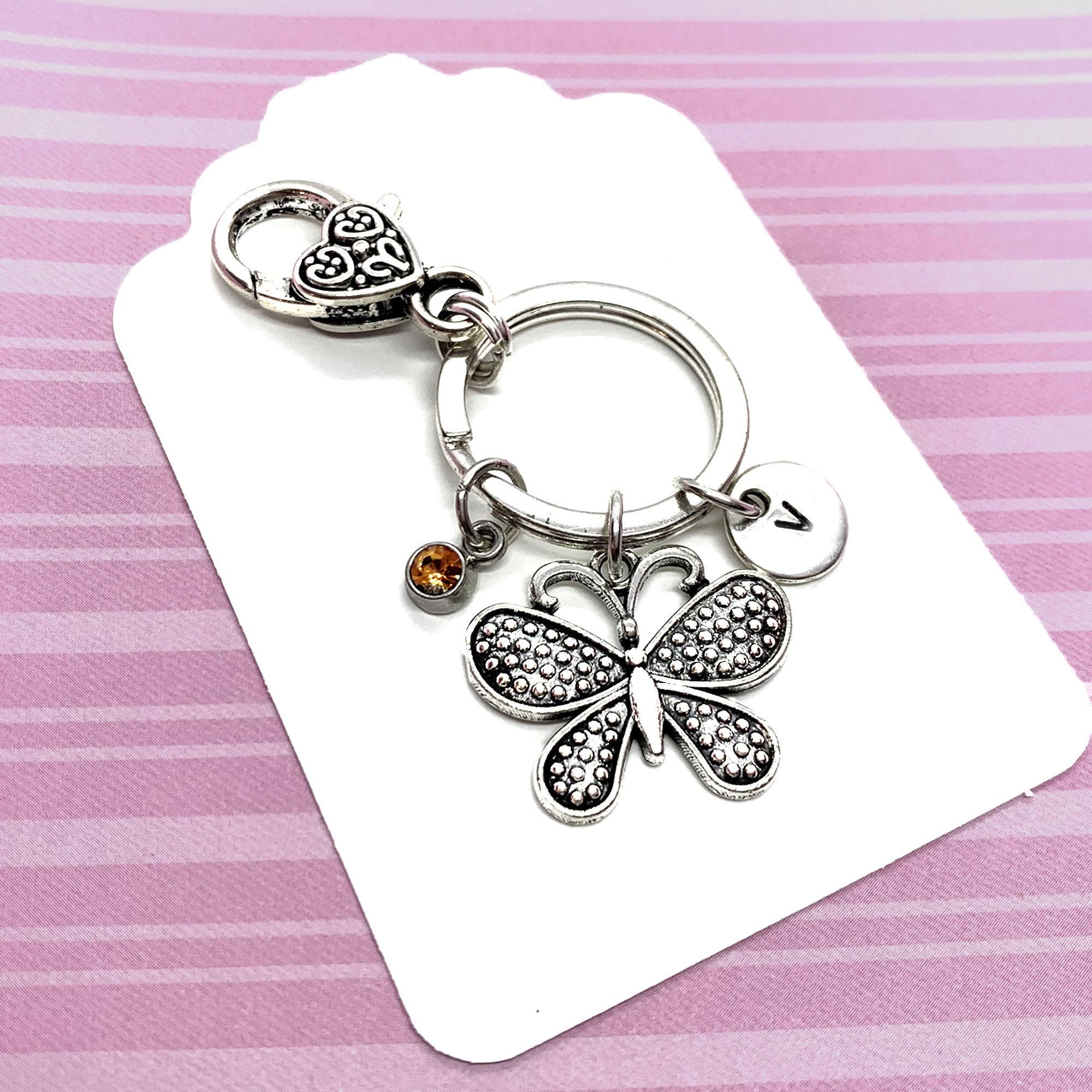 Birthstone Butterflies Keychain Personalised Silver Butterfly Keyring