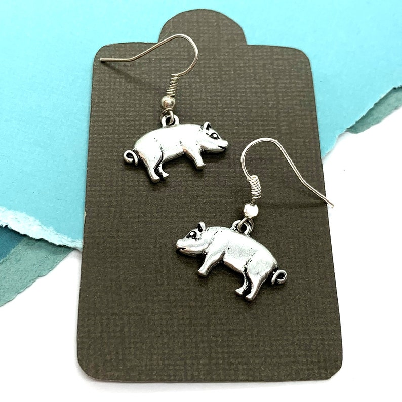 Little Girl Jewelry Farm Girl Gifts Farm Animal Gifts Personalized Pig Lover Gift Pig Earrings Dangle Piglet Earrings Pig Charm Jewelry