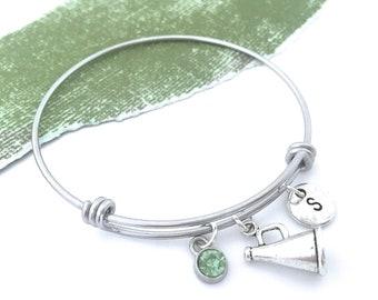 Cheer Megaphone Charm Bangle Cheerleader Bracelet Initial Bangle, Cheer Charm Personalized Cheer Gifts for Team, Cheerleader Gift Coach Gift