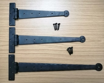 """Pewter Tee Hinge 9/"""" Gothic Heavy Strap T Hinge Sold in Pairs New"""