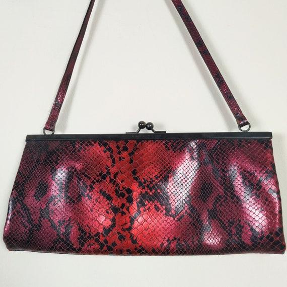 Vintage Coccinelle Red Genuine Leather Snake Effec