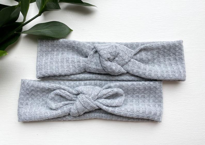 Grey Waffle Knit Headband
