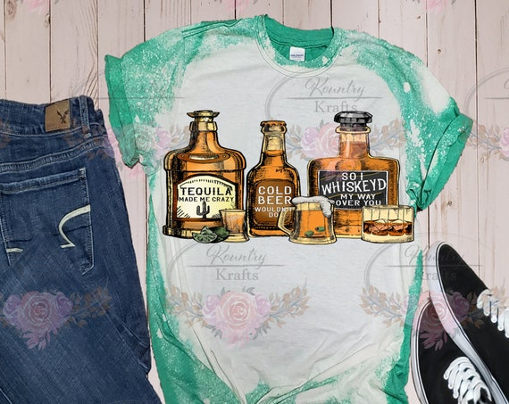 Whiskey Bottles/Bleached T-Shirt