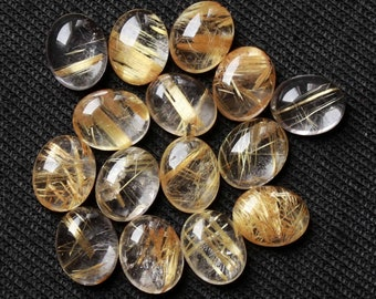 Beautiful Quality Natural Tourmalated 4.55 ct Rutile Quartz Oval Shape Cabochon Loose Gemstone For Making Jewelry Size 8x10x3 mm