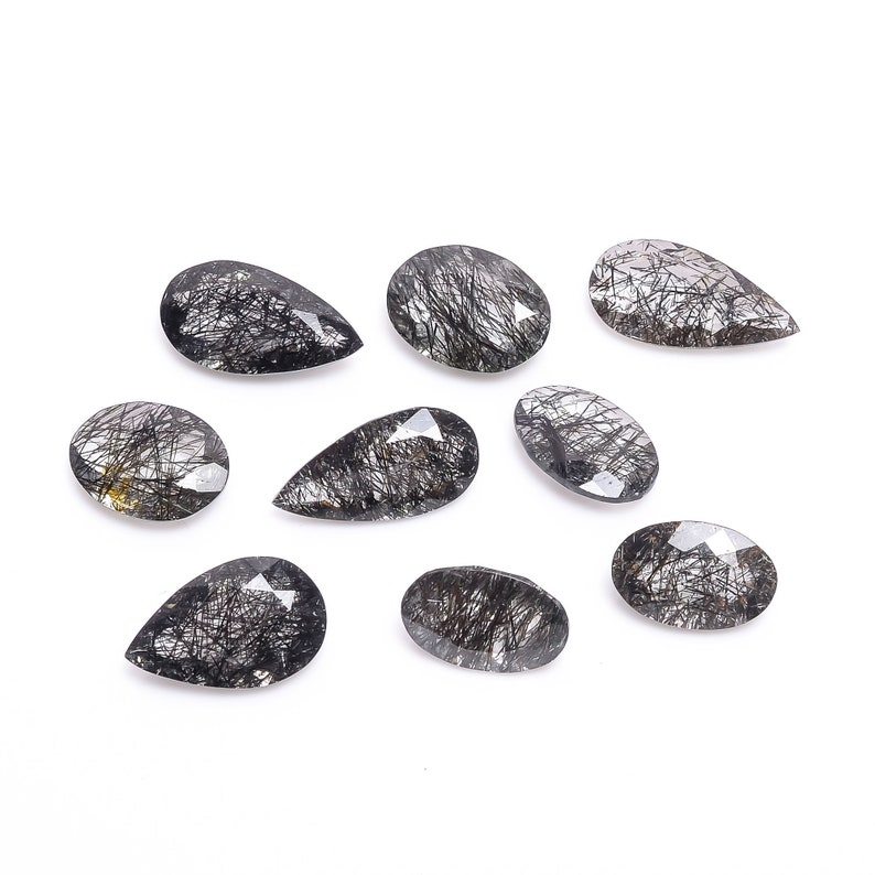 Natural Black Rutile Quartz Faceted Stone Loose Gemstone 9 Pcs Lot For Making Jewelry 54 Ct 14X10-20X10 MM