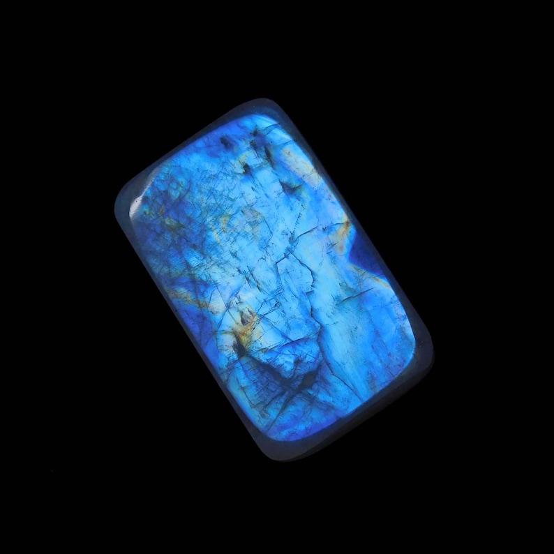 35 Ct Natural Rainbow Moonstone Cabochon Rectangle Shape Gemstone Blue Fire Moonstone 15x24x8 MM