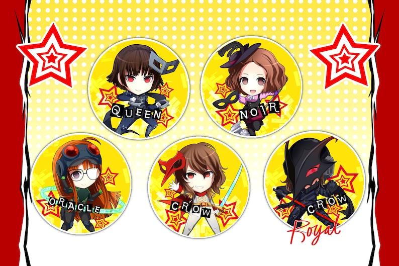 Buttons JokerRyujiAnnYusukeMakotoFutabaHaruAkechiKasumi Cute Badges PERSONA 5 ROYAL