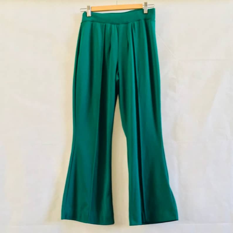 Kelly green high waist knot stretch flare trousers M L cropped