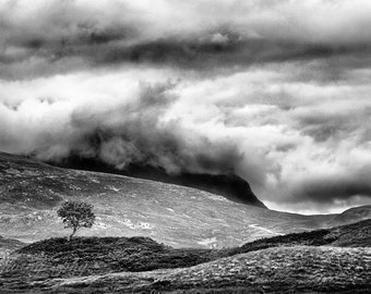SCOTTISH HIGHLANDS   Original Black and White Photograph, Fine Art Print, Mountains, Landscape, Scotland, Home Decor, Clouds.