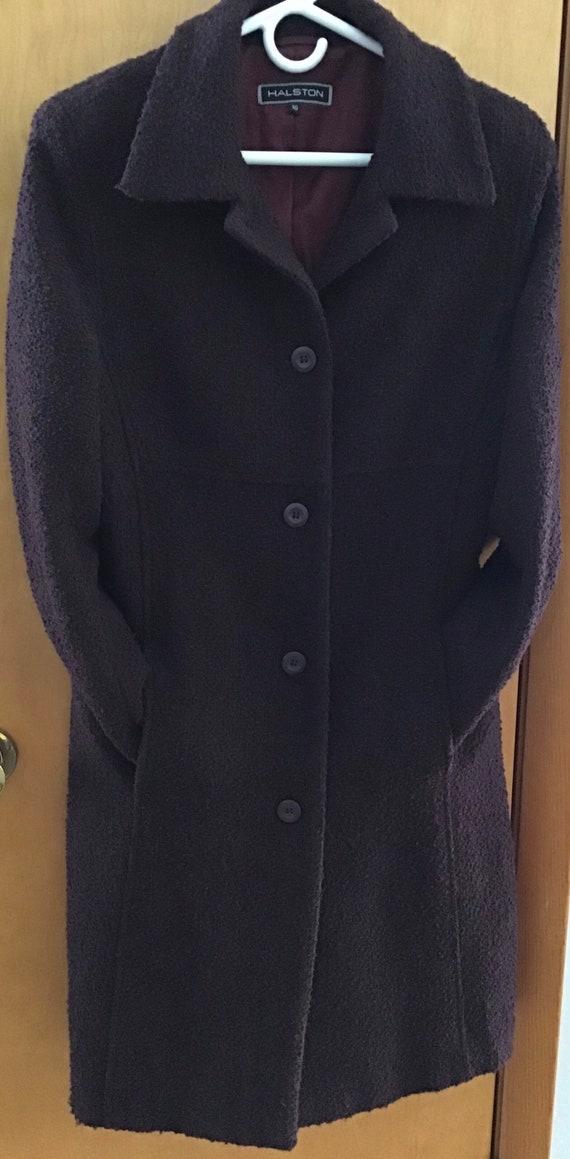 HALSTON Wool blend Coat Plum size-10 excellent vi… - image 2